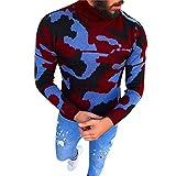 Celucke Rollkragenpullover Herren Camouflage Langarm Pullover,Winter Strickpullover mit Rollkragen Casual Sweater Tops