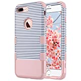 iPhone 7 Plus Case, ULAK Shockproof Case Three Layer Hybrid Soft Silicone Shock Absorption Dust Resistant Protective Hard Case Cover for Apple iPhone 7 Plus (5.5 inch), Minimal Stripes Rose Gold