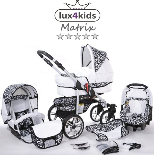 Chilly Kids Matrix II Pram & Pushchair Travel System (car seat & adapter, raincover, mosquito net, swivel wheels) 59 White & Leopard  Stroller with accessories all included 3 free items More information on www.youtube.com/Lux4Kids Sturdy steel construction, height-adjustable handlebars, adjustable hood hood, converts into a stroller and many pl Made in the EU (DIN EN1888/2005) 1