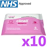 10 x Clinell® Bedbath Bed Bath Patient Wipes (Pack of 8) Moisturising Bathing Wipes Rinse-Free Bathing Solution Cleansing and Refreshing (Total 80 Wipes)