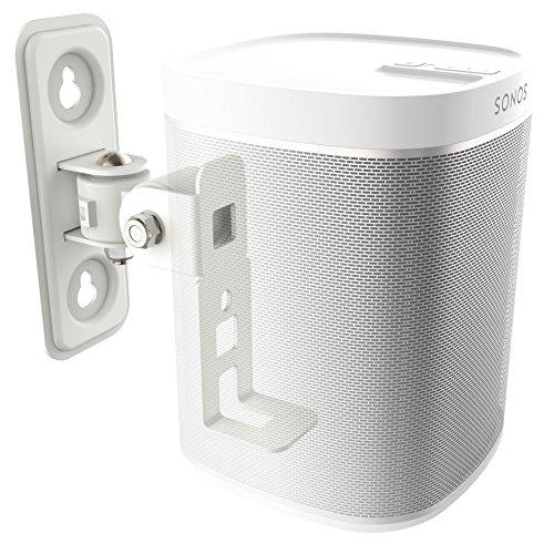 RICOO Lautsprecher Wandhalterung schwenkbar neigbar LH431W für SONOS® Play 1 / Wlan Airplay Lautsprecher-Wandhalter / Halterung-Lautsprecherboxen / Multiroom Speaker Full-Motion Mount / Weiß (Aktive Soundbar Mit Receiver)