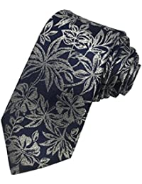 TED BAKER London Mens 100% Woven Silk Neck Tie Necktie Blue White Floral Leaf