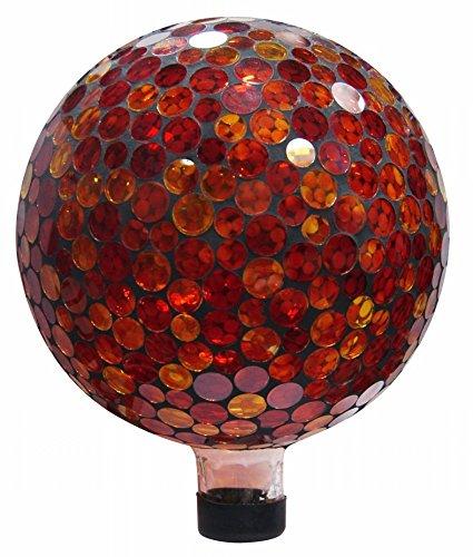 Alpine Corp GRS118 10 in. Mosaic Gazing Ball - Red/Yellow