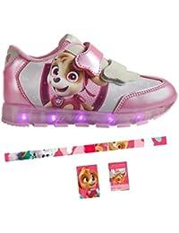 Patrulla Canina - Zapatillas deportivas con Luz - cierre de velcro, Deportivas Led color Rosa Skye Paw Patrol + Set de papeleria de regalo