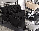 """Pretoria"" Black Double Duvet Quilt Cover Bedding Set In A Choice Of Colours & Sizes"