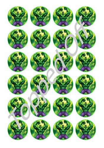 24-x-15-pre-cut-Hulk-round-edible-cup-cake-Topper-decorations-by-Topped-Off-FREE-UK-SHIPPING