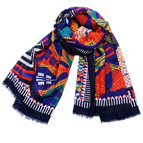 Easy Go Shopping New Damen Schal Winter Vintage Ethnic Style Schals für Frauen Weiche Dicke Warme Wrap/Schal (Farbe : Navy) - Navy Arm Warmers