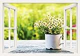 Artland Qualitätsbilder I Wandtattoo Wandsticker Wandaufkleber 100 x 70 cm Blumen Gänseblümchen Foto Grün B8DK Fensterblick Schöner Frühlingsgarten mit Gänseblümchen