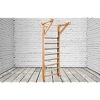 Madera maciza - haya! Сonstrucción robusta! Barras de pared de madera para interiores BB-01-220 Wooden Escalera sueca