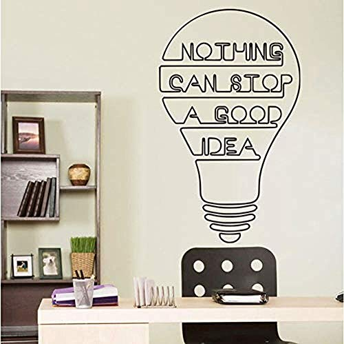 QixidanBuena Idea Bulb Words Motivation Quote Wall Decal Sticker Para Dormitorio Office Mat Vinyl Decal Inspire Decor 30X50cm