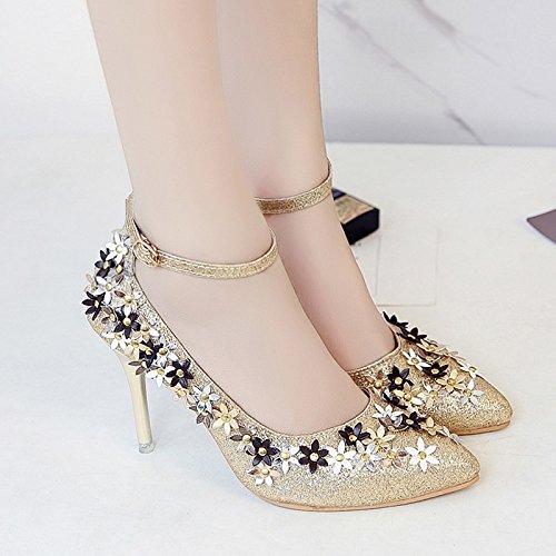 RUGAI-UE La fibbia sandali donne fiori punta estiva tacchi alti scarpe sexy Golden