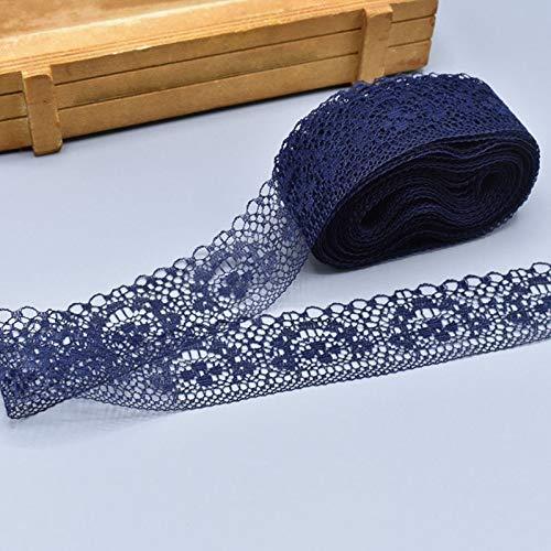 Soulitem Poliéster Encaje Cinta 10 Yardas sin Elástico Semicírculo Modelo Floral Ribete Encaje Cinta - Azul Marino