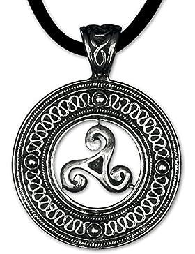 Keltischer Anhänger Triskele Dreierwirbel 925er Silber Schmuck Schutzamulett mit Lederhalsband Schmucksäckchen...