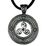 Keltischer Anhänger Triskele Dreierwirbel 925er Silber Schmuck Schutzamulett mit Lederhalsband Schmucksäckchen und Karte 5400