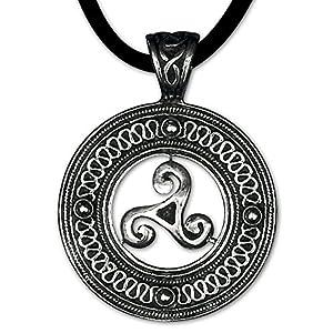 DarkDragon Keltischer Anhänger Triskele Dreierwirbel 925er Silber Schmuck Schutzamulett mit Lederhalsband Schmucksäckchen und Karte 5400