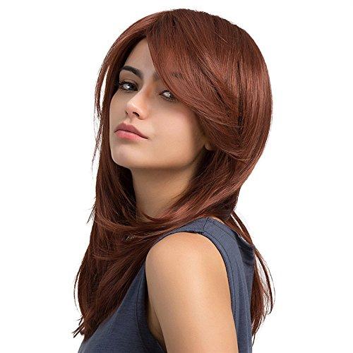 TopWigy Damen Perücken Lang Weinrot Haar Kunstfaser Perücke mit Voll Pony Cosplay Alltaghaar 20 Inches Synthetic Wig Halloween(lc100) -