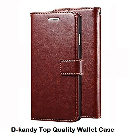 D-Kandy Vintage Leather Flip Wallet Case Stand with Card Holder Magnetic Closure Cover for HTC 816, 816G- Brown