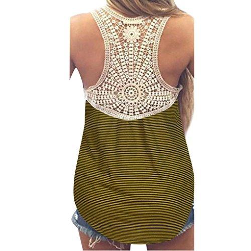 VEMOW Neue Design Mode Frauen Damen Mädchen Sommer SeLace Weste Top Kurzarm Bluse Casual Tank Tops T-Shirt(Gelb, EU-38/CN-M)