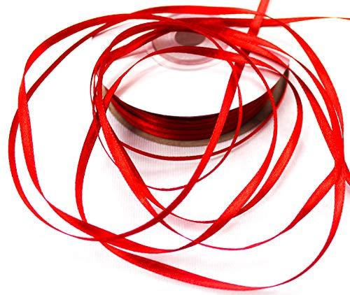 CaPiSo® 50m Rolle 3mm Schleifenband,Satinband,Geschenkband,Band Geschenk,Satin (Dunkles Rot) (Band Rot)