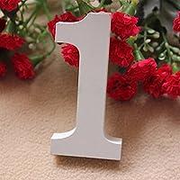 Da.Wa 1PC 0-9 Madera Madera Números Nupcial Partido de los Ornamentos Hogar de la Boda Gecoración de la Tabla(Numero 1)