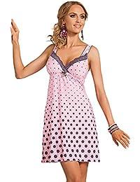 03c2104b1914c5 R-Dessous exklusives Damen Nachtkleid Negligee Sleepshirt Viskose  Nachtwäsche Nachthemd mit Träger pink Donna