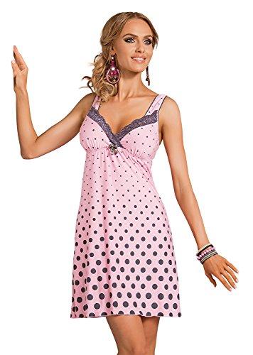 R-Dessous exklusives Damen Nachtkleid Negligee Sleepshirt Viskose Nachtwäsche Nachthemd mit Träger pink Donna Groesse: XL