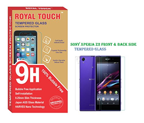 ROYAL TOUCH TM( FRONT & BACK SIDE)SONY XPERIA Z2 TEMPERED GLASS SCREEN GARD/SIZE PERFECT FIT/CUTTING HOLE FOR PROXIMITY SENSOR & CAMERA/0% BUBBLE/EASY TO SELF INSTALL