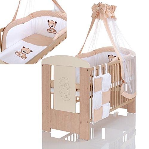 LCP Kids - 9 teiliges Baby Bettwäsche Komplettset mit Himmel, Nestchen - Baumwolle - geprüfte Textilien, Motiv gestickt: Bär creme Bettwäsche 9