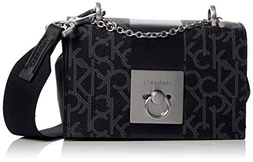 Calvin Klein Jeans Damen Mono Block Small Flap Crossbody Umhängetasche, Schwarz Black, 8x12x17 cm