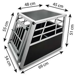 Leopet Alu Hundetransportbox Auto Hundebox eintürig Autohundebox 54x69x51cm