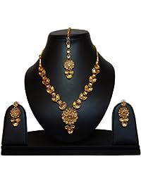 Kundans Jewellery Set With Maang Tikka For Women - Kundan Necklace Set With Maang Tikka By FreshVibes