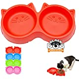 BLACK DOG Pets Bowl Plastic Cat Face Pet Double Bowl Non-Toxic Environmentally Friendly Kitten/Cats/All Breeds Puppies and Small Breeds Dogs Double Bowl - 1 Piece Color May Vary