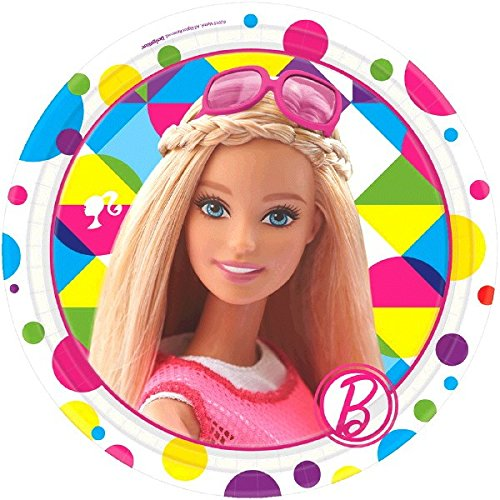amscan 541507-55 18 cm Barbie Sparkle Pappteller (Box Halloween Barbie)