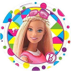Amscan-541507-5518cm Barbie Sparkle platos de papel
