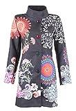 25 Designs-Sehr schöner Damen Luxus Winter Mantel Patchwork Trenchcoat 34 36 38 40 42 44 45 , Farbe:Schwarz/Bunt;Größe:3XL-44