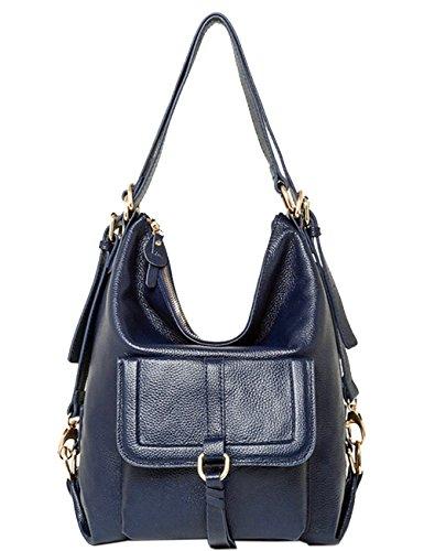 MENSCHEWEAR Damen Rucksack Handtasche Echtes Büffel Leder Rucksack Koreanische Adrette Art Schulmädchen Backpack Blau