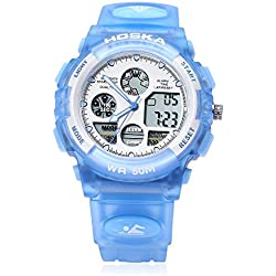 Leopard Shop HOSKA H003B Multifunctional Children Sport Watch Dual Movement Chronograph Calendar Alarm EL Backlight LED Wristwatch Water Resistance Blue
