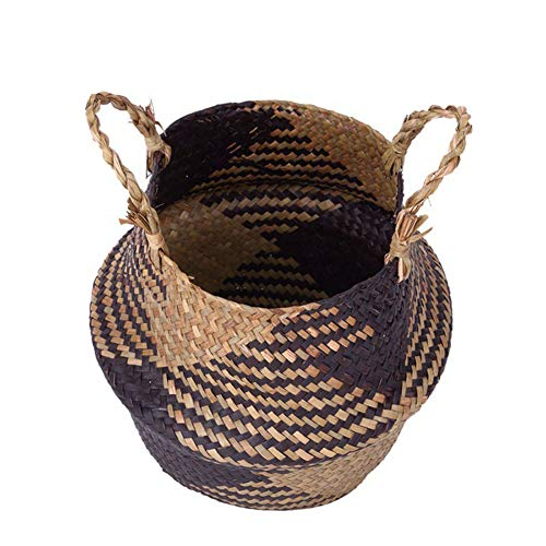 Korb für Lagerung, Faltbarer Handgemachte Speicher-Korb Wicker Rattan Stroh Blumentopf Übertopf Wäschekorb -
