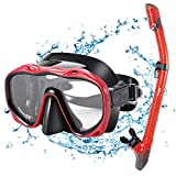 Kuyou Snorkel Set Adults,Dry Snorkeling Set Men Women Anti-Fog Snorkel Mask Impact Resistant