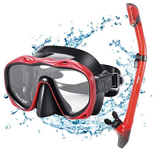 Kuyou Premium 2019 Schnorchelset Erwachsene Taucherbrille mit Schnorchel Tauchset gehärtete Anti-Beschlag Gläser Taucherbrille wasserdichte Tauchmaske und trockenem Schnorchel Set (Rot)
