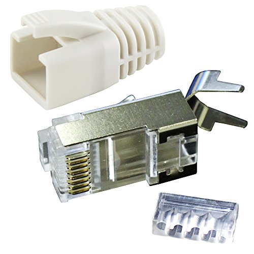 Ligawo VLS2 Netzwerk Stecker für Verlegekabel Cat.7 bis AWG22 (10 Stück) + Tüllen weiß