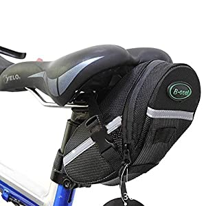 Bolsa de Sillín para Bicicleta,GYOYO Bicicletas Bolsa, Alforjas, Mochilas para Sillin, Ciclismo para bicicleta Tija bolsa del bolso del asiento de la silla de montar de la cola trasera Paquete Negro al aire libre