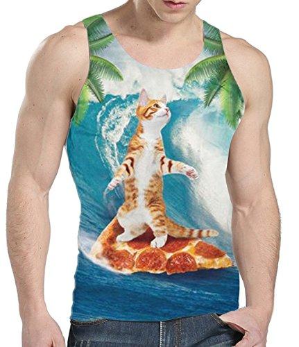 Idgreatim Mens Sommer Casual Tank Katze Gedruckt Grafik Tees Tops 3D T-Shirt S (Sommer-grafik-t-shirt)