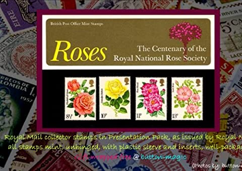 ROSES The Centenary of the Royal National Rose Society 1976 British Post Office Royal Mail Mint Collector Stamps in Presentation Pack Number 81 * MNH * No. of Stamps:
