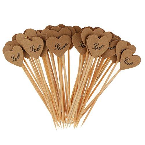 Baoblaze Herz Kuchen Kraftpapier Cupcake Topper, 50 Stücke Dekorationen für 0Hochzeit Brautdusche und Geburtstagsfeier - # Love