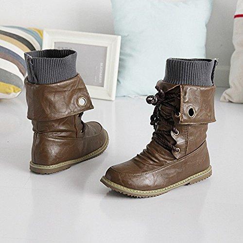 Minetom Donna Autunno Inverno Stile Britannico Tubo Corto Stivali Scarpe con Tacco Punta Rotonda Bassi Mode Stivaletti Martin Boots Marrone