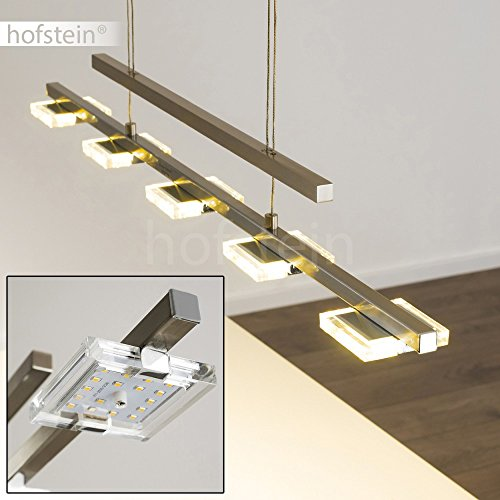 Pendelleuchte AVESTA aus Metall in Nickel matt - LED Hängeleuchte für Esszimmer - Wohnzimmer - Schlafzimmer - Mithilfe des Stabpendels ist die Leuchte beliebig höhenverstellbar