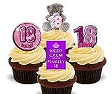 18. Geburtstag Mädchen, Violett Essbare Cupcake Topper–Stand-Up Wafer Kuchen Dekorationen, 12er-Pack