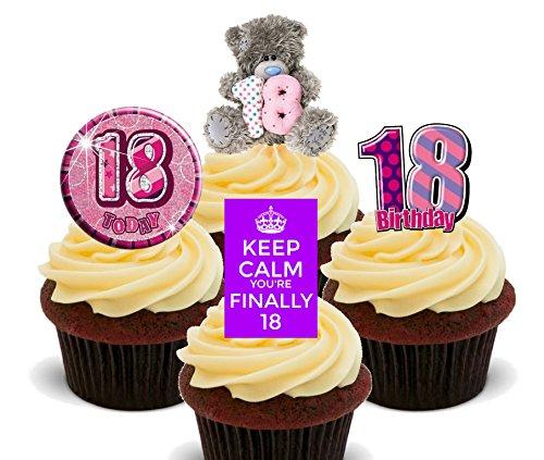 hen, Violett Essbare Cupcake Topper–Stand-Up Wafer Kuchen Dekorationen, 24er-Pack (18 Geburtstag Cupcake Dekorationen)