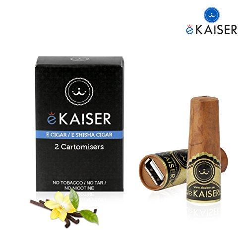 eKaiser Elektronische Zigarre 2er Pack Cartomizer, Vanilla Flavour, E Zigarre E Shisha Einweg, 30/70 VG/PG Premium-Geschmacksrichtungen, 700 ZÜGE für eKaiser aufladbare Zigarre Cloud Chaser Vape -